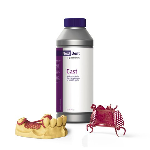 NextDent Cast bottle with example 3D Printed model