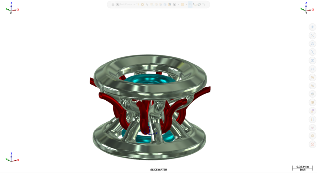 An image of a digital 3d model with visualized indicators related to cooling performance